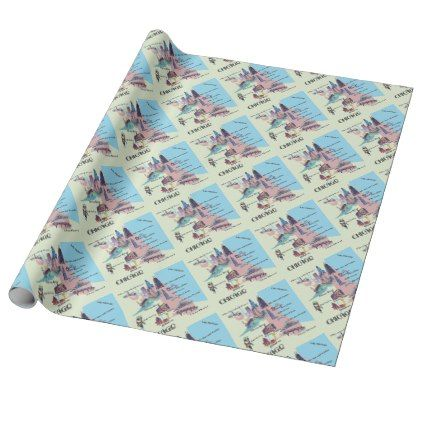 Chicago Georgia Highlights map Wrapping Paper - retro gifts style cyo diy special idea