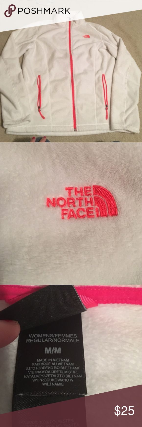 Medium white north face jacket Hoodless Good condition. Two pockets. Pink and white. Tops Sweatshirts & Hoodies