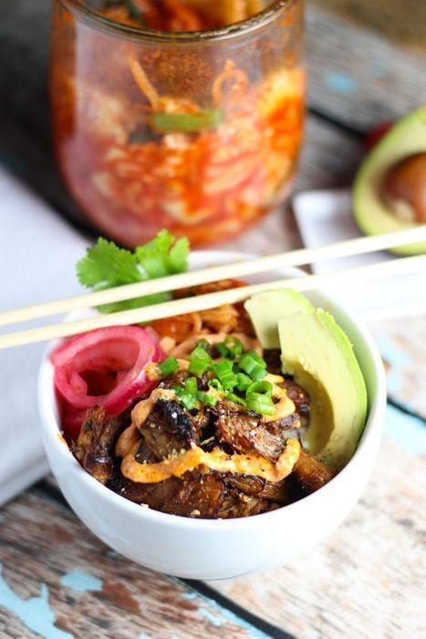 Pork Carnitas Taco Bowls wtih Kimchi http://platingsandpairings.com