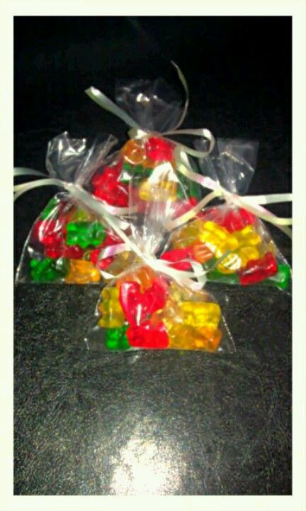 Gummy Bears for care bear themed birthday party favors. 3lb bag of Gummy bears (found at,Walmart) makes 42 bags (14 pieces per bag). Purchased indiv favor bags at Michael's.