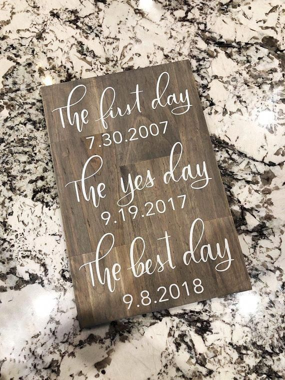 First Day Yes Day Best Day Sign Best Dates Wedding Sign Wedding Sign Wedding Decor Wedding Date Sign Wedding Signs Rustic Wedding