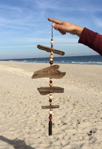Brown DRIFTWOOD Mobile, Windchime made with Driftwood and Wooden Beads- Upcycled Beach Decor, Baby Boy, Nursery, Bohemian, Hippie, Nautical