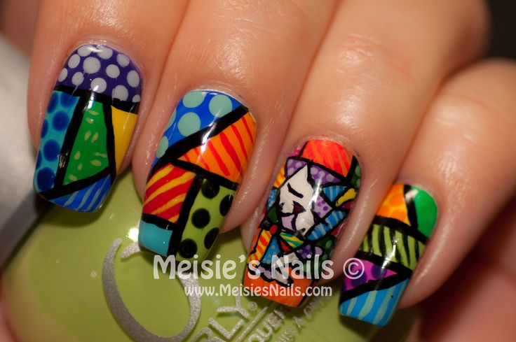 Romero Britto inspired mani by Meisie, http://www.meisiesnails.com/2013/02/romero-britto-inspired-nails.html