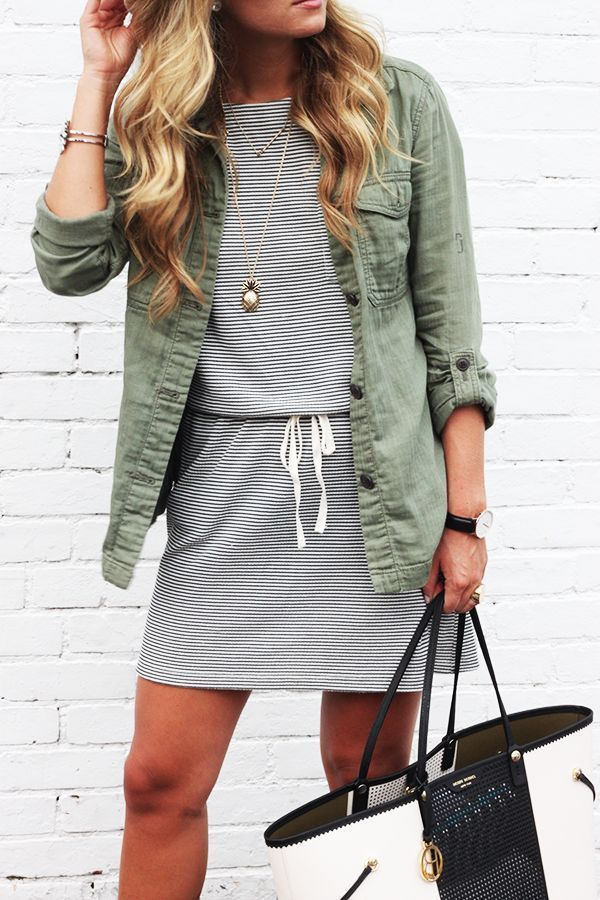 stripes + army shirt / jacket.