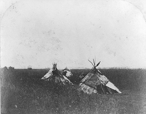 Tents on the prairie, west of the settlement, Red River, MB, 1858