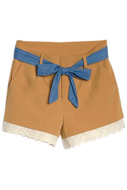 <3Street Fashion, Yellow Shorts, Shorts 39, Trim Yellow, Lace Trim