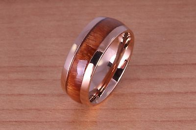 8mm Koa Wood Stainless Steel Wedding Ring Oval Pink Gold. Material: Hawaii natural Koa wood, Stainless steel. Water resistant and comfort fit.   eBay!
