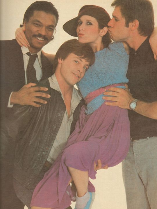 Billy Dee Williams, Mark Hamill, Carrie Fisher & Harrison Ford, photographed by Annie Liebovitz 1980