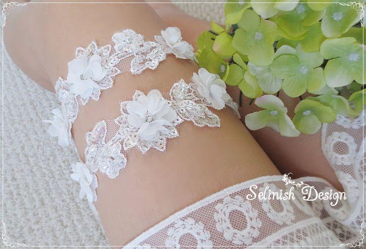 Floral Garter Set, Bride Lace Garter, Wedding Garters, Flower Garter, Floral Lace Garter, Ivory Garter- code: G156f1 by SelinishDesign on Etsy