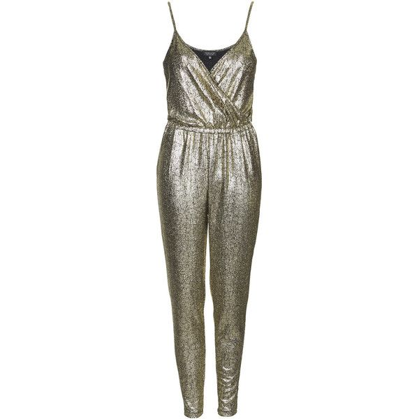 TOPSHOP Metallic Snake Jumpsuit (350 EGP) ❤ liked on Polyvore featuring jumpsuits, jumpsuit, playsuits, dresses, topshop, young, gold, metallic jumpsuit, brown romper and romper jumpsuit