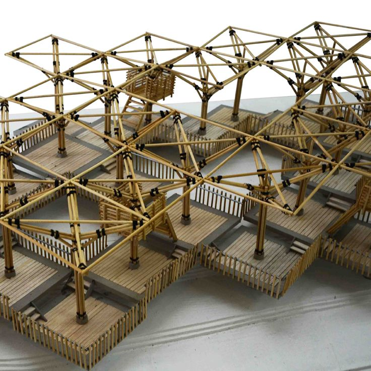 the pavilion is a repetitive modular structure made entirely out of bamboo that explores the potential of this material in sustainable constructions.