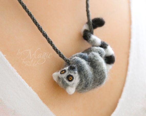 Lemur necklace, grey animal pendant, madagascar gift, needle felted charm, ring tailed lemur