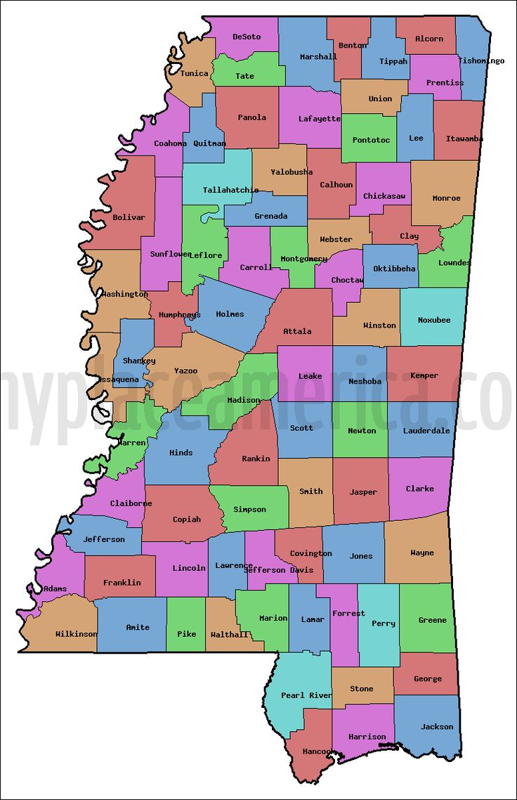 It is a graphic of Satisfactory Printable Map of Mississippi