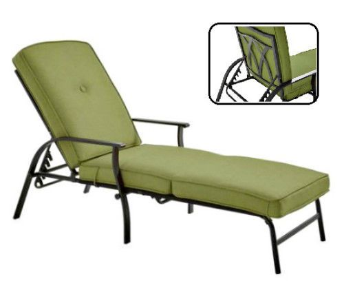 Outdoor Chaise Lounge Chair Reclining Sun Bed Cushioned Pool Deck Chair Green  #MainstaysFurnitures