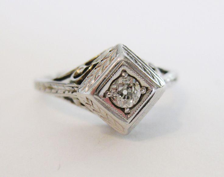 Vintage Wedding Rings 1920 | Vintage 1920s Art Deco Diamond Engagement Ring by IvyCottage2U