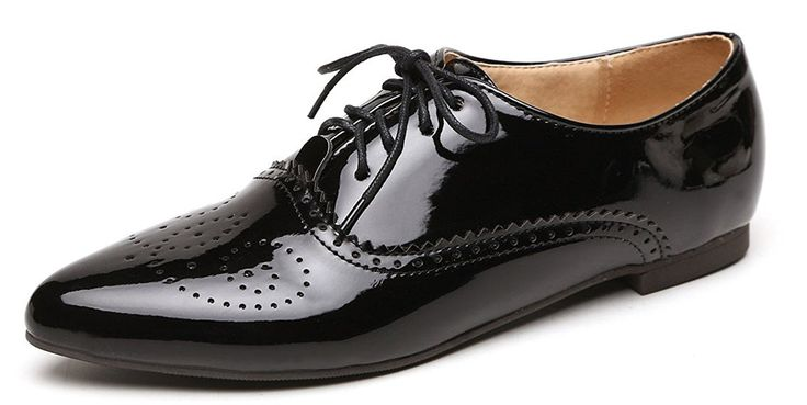 YEWomen's Lace up Leather Pointed Toe Spring Autumn Oxford Flats Shoes -- Check out the image by visiting the link.