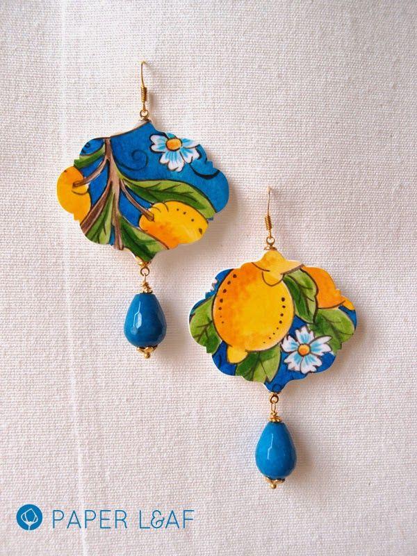 Lemon | handpainted paper earrings | paper Leaf   #PorcelainCollection  #FauxBrokenChina