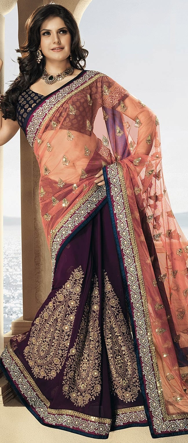 Peach and Wine Net and Faux Georgette #Saree with #Blouse @ $248.00 | Shop @ http://www.utsavfashion.com/store/sarees-large.aspx?icode=ssl1775