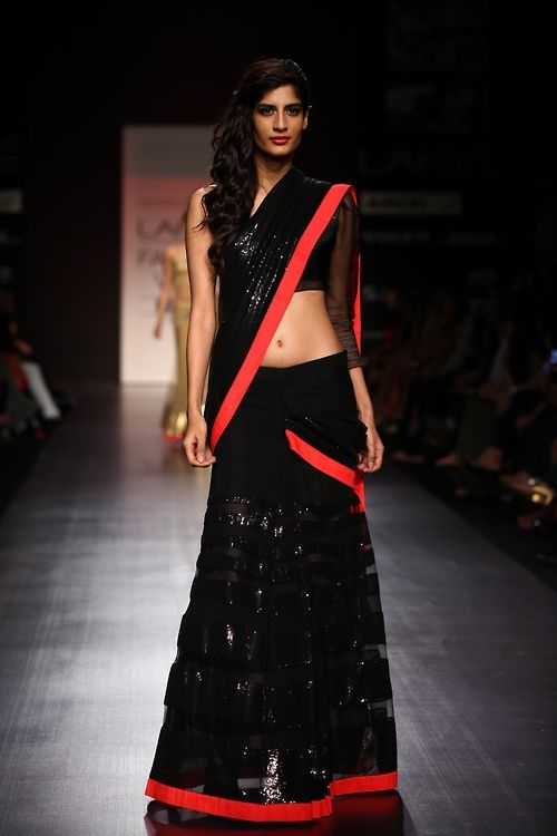 Black and coral by Manish Malhotra