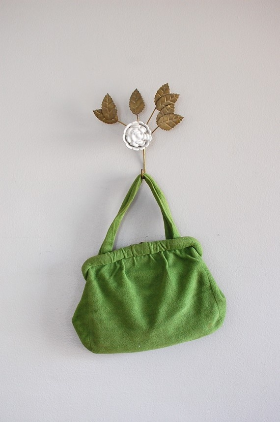 1940s handbag / 40s purse / Fresh Fern wool bag by DearGolden