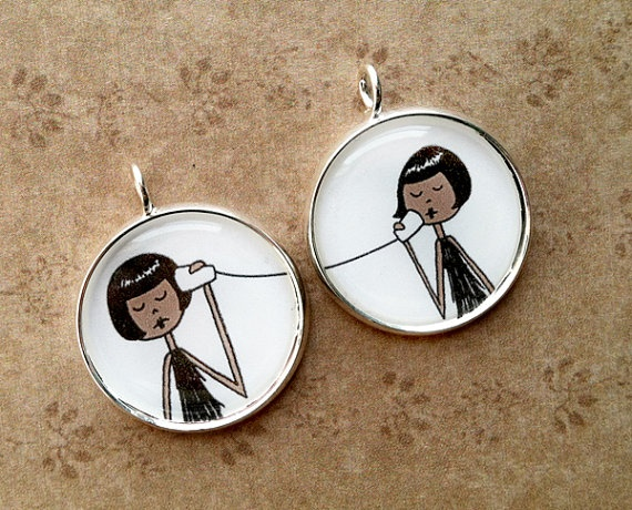 BFF Best Friend pendant set // Zelda and Becky by flapperdoodle, $15.00  would be great if you could personalize a little bit...my bff has strawberry blonde hair :)