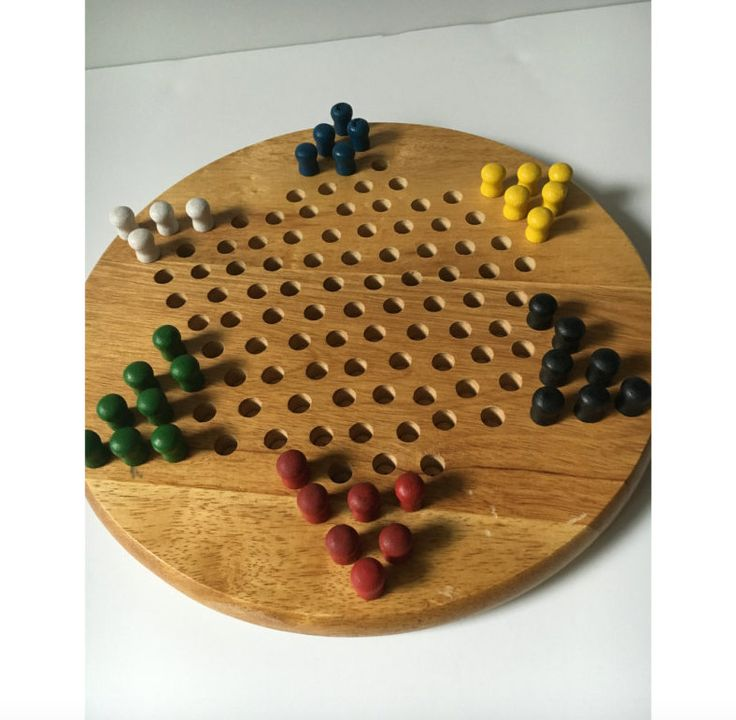 Vintage Oak Chinese Checkers Set, Hardwood Checkers board with wood pegs, Board game, Family game,, Man Cave, Games, Round Checker Board set by KyriesTreasureChest on Etsy