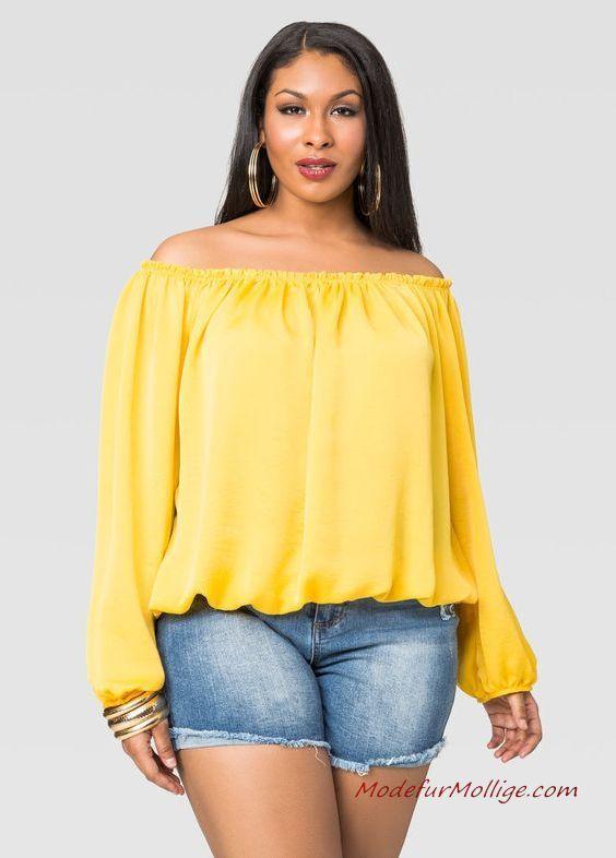 Blau Jeans Shorts Gelb Schulter Bluse – 16 Ideen z…
