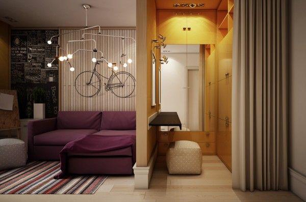 Idea per piccola cabina armadio stanza teenager, bello anche il lampadario
