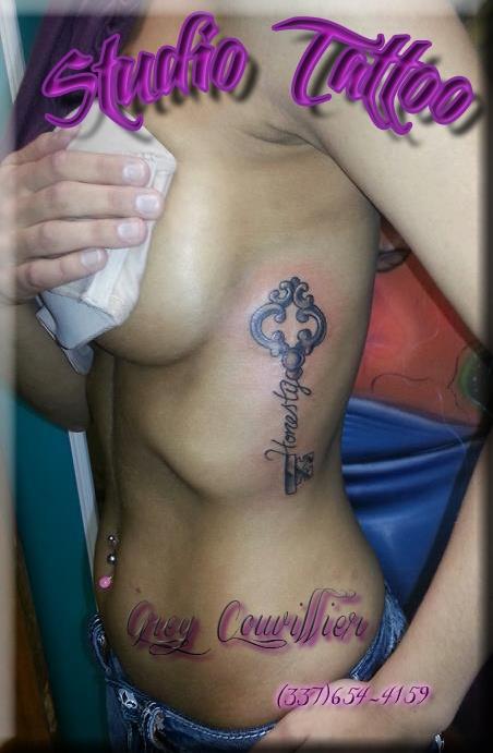 Studio Tattoo  #key #honesty #tattoo #art #side #studio  www.tattooslafayettela.com  https://www.facebook.com/studiotattoos?ref=hl