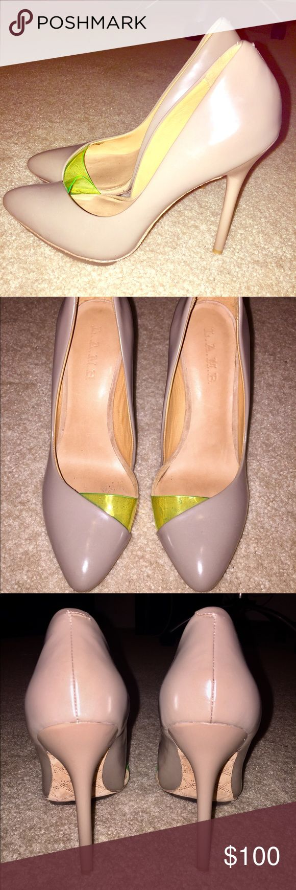 """L.A.M.B. """"Harlie"""" Nude and Neon Heels Perfectly impossible to let go of these bad girls, but my damn back won't allow this kind of arch! Bought brand new last year. No box but I'll ship them in a sexy dust bag. L.A.M.B. Shoes Heels"""