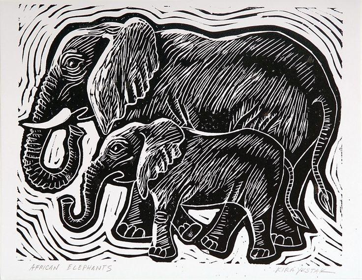 Описания, линогравюра картинки животные
