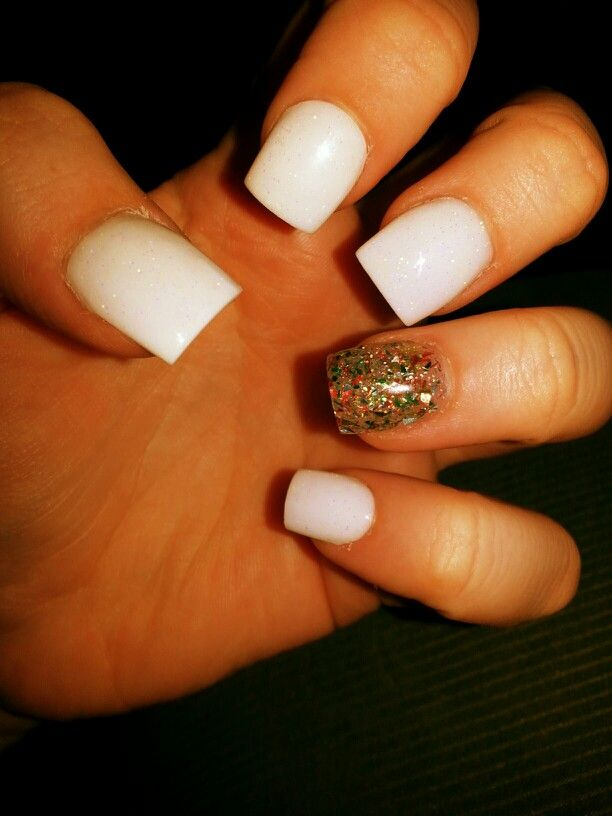 Glitter white and multicolored glitter solar nails. Envy hair and nail salon.