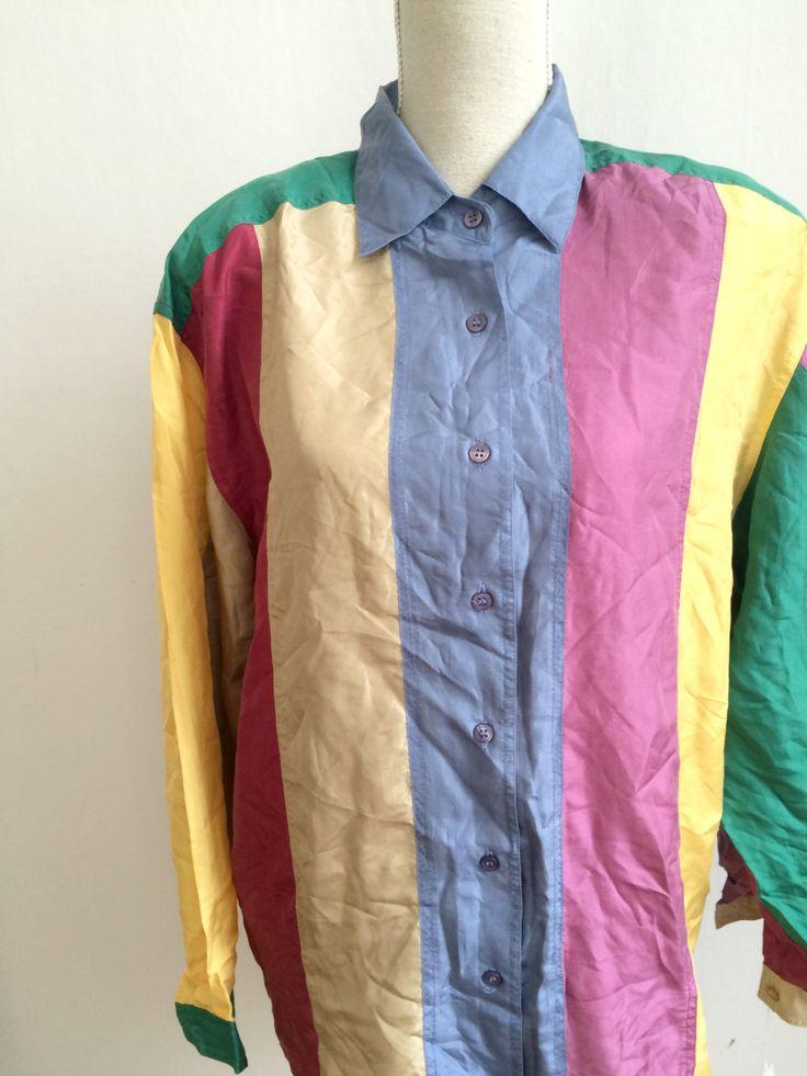 80s colorfull shirt, fresh prince shirt,colorblock shirt, 80's color shirt, button down shirt, mens shirt, shirt for men, silk shirt by VintageVicenti on Etsy
