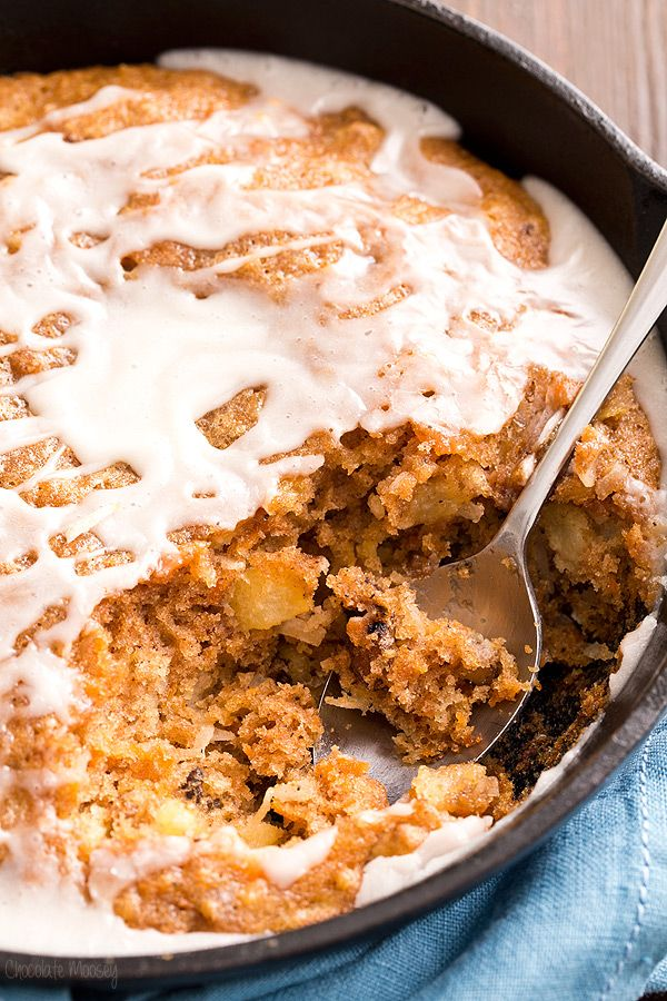 Moist one layer Carrot Cake Skillet Cake with a homemade vanilla glaze makes a quick and easy dessert for when you're short on time but still need to impress. Made in partnership with @aldiusa
