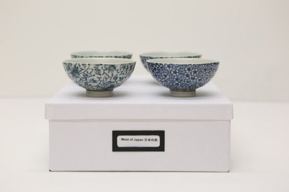 Set of 4 blue and white Japanese Ceramics Bowls in by WestofJapan