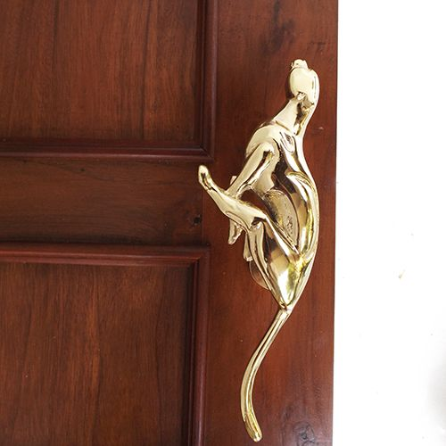 "Cheetah Solid Brass Door Handle / Pull 11-1/4"" - Displayed on a door 
