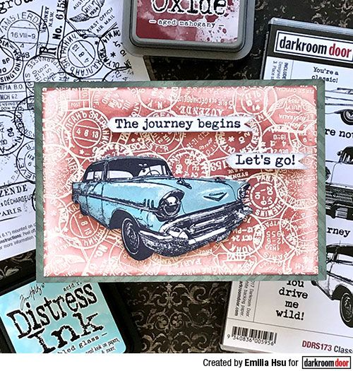 Card by Emilia Hsu using Darkroom Door Postmarks Background Stamp and Classic Cars Stamp set.