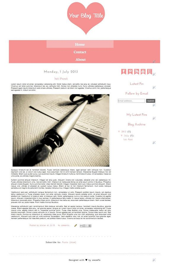 Premade Blogger Template The Lovely Hearts  Instant by ONESMFA, $7.00