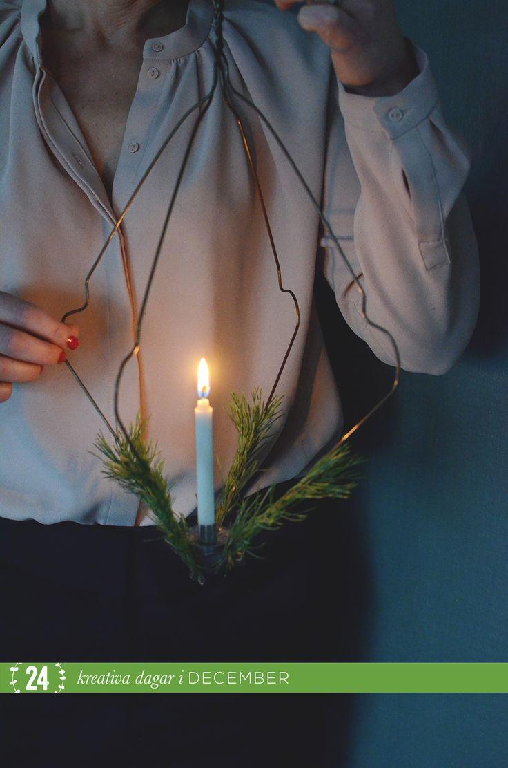 Med tio dagar kvar till den 24.e december börjar det verkligen lacka mot jul. Det är nu vi ska mysa och ta det lugnt. Då kan ett snabbt och enkelt julpyssel som ger ett fint ljus och hög julkänsla...
