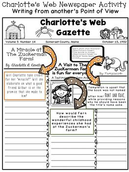 Charlotte's Web Newspaper Writing Activity- Writing. Charlotte's web novel study at my TPT store also:)