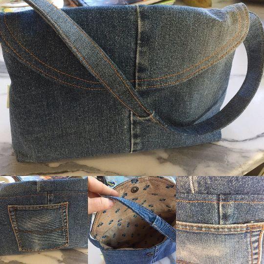 Upcycled denim handbag with 100% cotton lining and back pocket restitched onto the back of the handbag.