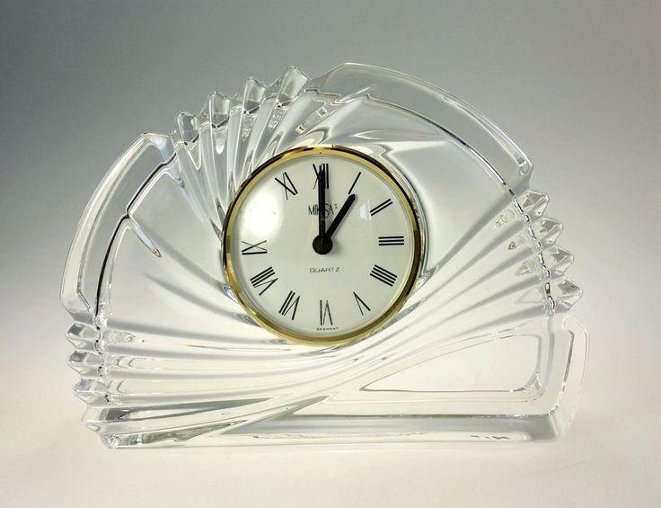 Mikasa Crystal Glass Mantel Shelf Desk Clock Germany ...