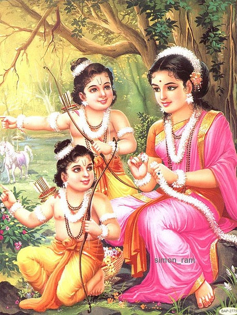 One of the PanchaKanya : Sita and her twins Lava and Kush .