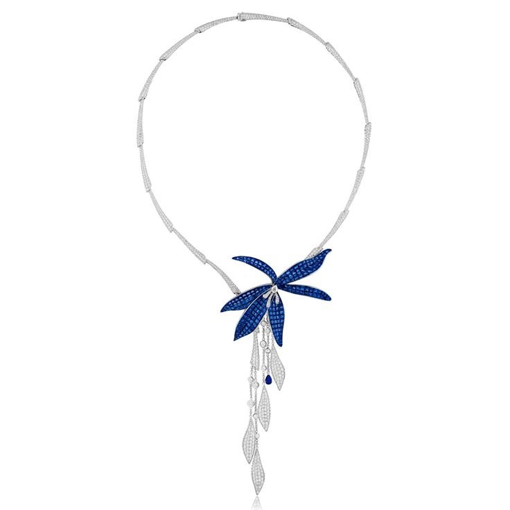 Stenzhorn's Wild Orchid high jewellery flower necklace with blue sapphires and diamonds. http://www.thejewelleryeditor.com/jewellery/article/stenzhorn-high-jewellery-myths-magic/ #jewelry