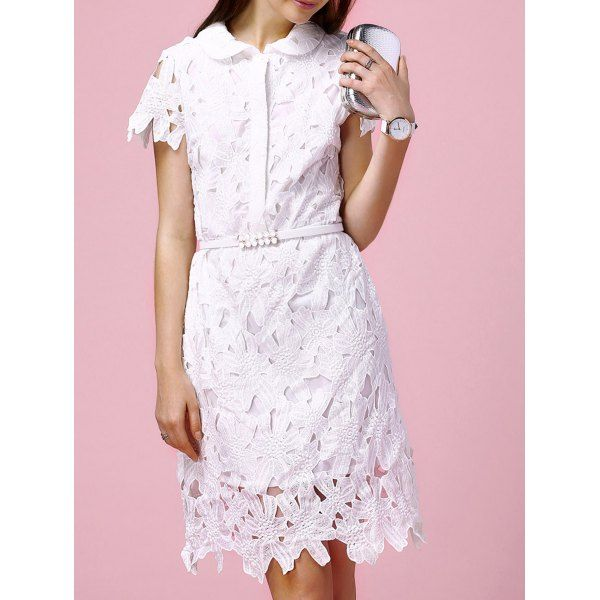 Cute Peter Pan Collar Hollow Out Slimming Floral Embroidery Women's Dress #shoes, #jewelry, #women, #men, #hats