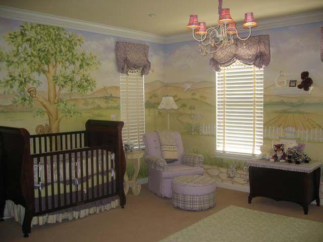 Baby girl nursery murals.  http://www.nurserymuralsandmore.com/2010/06/lavender-baby-nursery-ideas.html