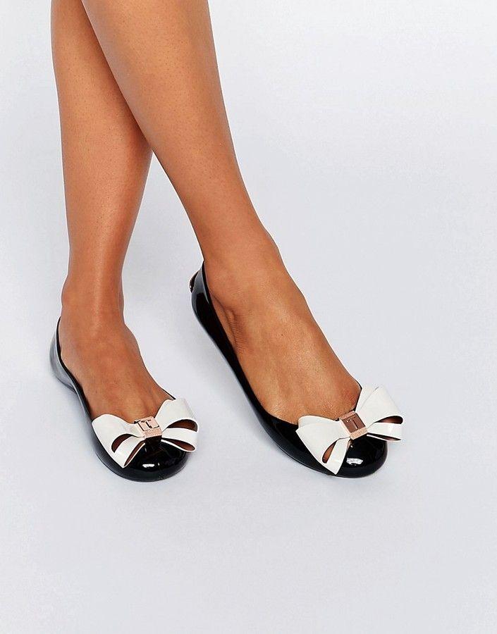Ted Baker Julivia Bow Black Ballet Flat Shoes