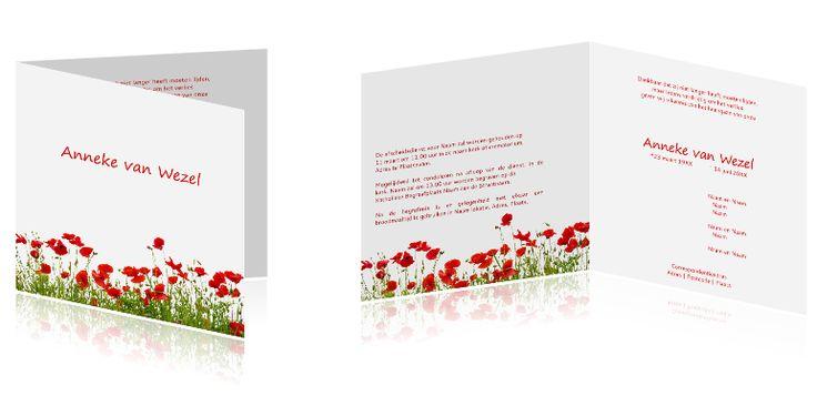 #Unieke #rouwkaart me een veld vol #klaprozen op een #witte #achtergrond.