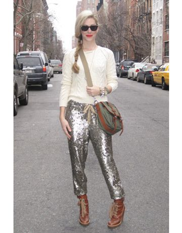 Joanna Hillman Gap sweater; J. Crew pants; Marc by Marc Jacobs boots; Ralph Lauren bag.