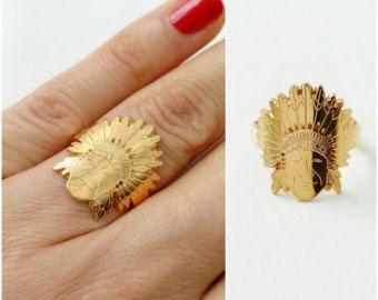 Anillo de indio, apache oro plateado tamaño ajustable de 18 quilates - anillo de inca, cabeza de indio - - chapado en oro 750 anillo jefe Indio amarillo